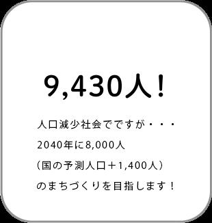 9,430人!人口1万人を目指しています。※2017年4月現在