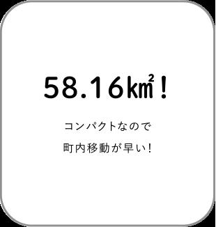 58.16キロ平方メートル!コンパクトなので町内移動が早い!