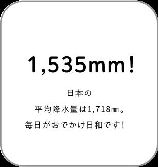 1,535mm!日本の平均降水量は1,718mm。毎日がおでかけ日和です!